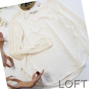 LOFT chiffon crochet sleeve blouse